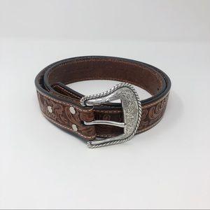 Nocona Genuine Leather Tooled Belt Silver Buckle